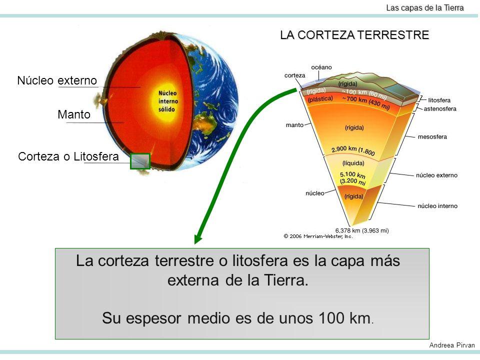 Las capas de la Tierra Límite de la Litosfera o corteza terrestre LA CORTEZA TERRESTRE Límite de la Litosfera Andreea Pirvan