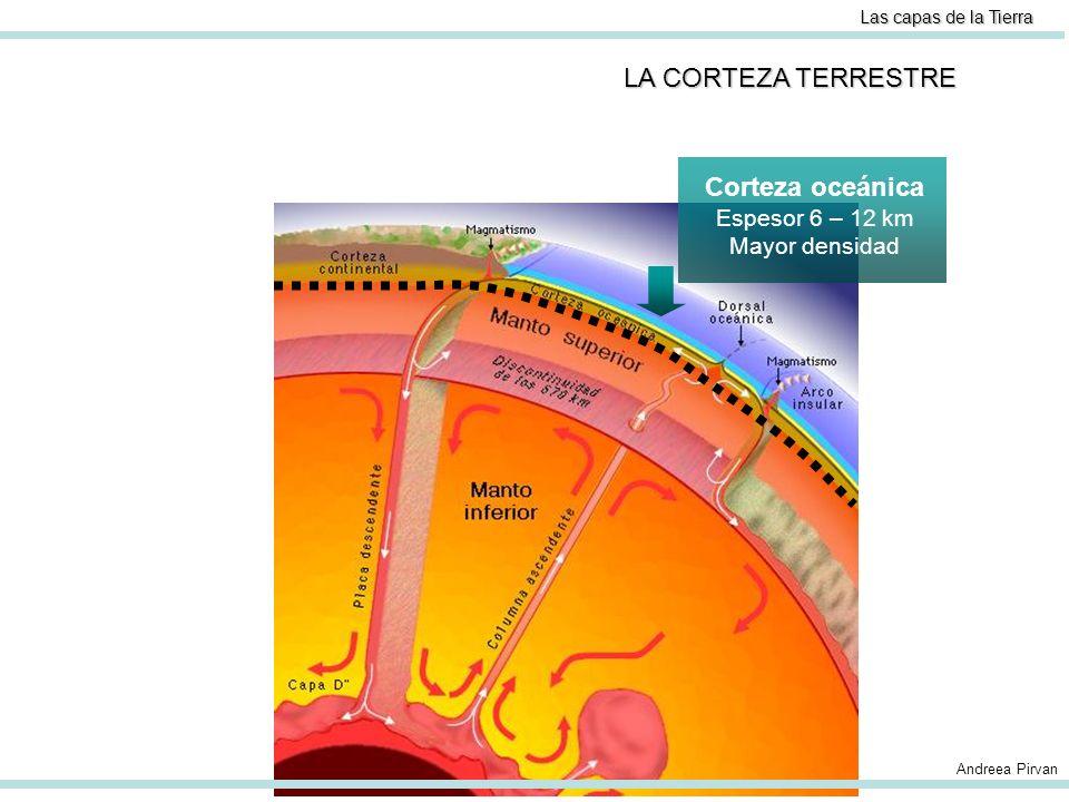 Las capas de la Tierra LA CORTEZA TERRESTRE Corteza oceánica Espesor 6 – 12 km Mayor densidad Corteza continental Espesor 25 – 75 km Menor densidad Andreea Pirvan