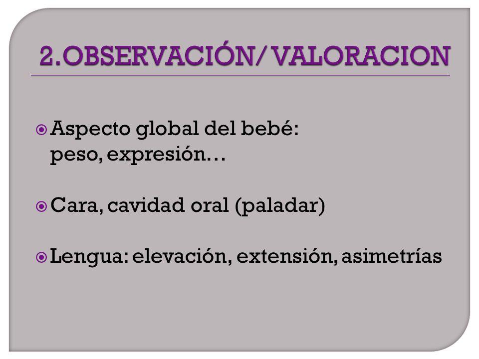 Aspecto global del bebé: peso, expresión… Cara, cavidad oral (paladar) Lengua: elevación, extensión, asimetrías