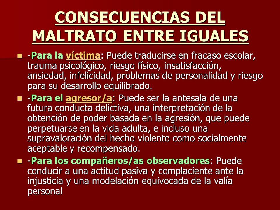 CONSECUENCIAS DEL MALTRATO ENTRE IGUALES -Para la víctima: Puede traducirse en fracaso escolar, trauma psicológico, riesgo físico, insatisfacción, ans