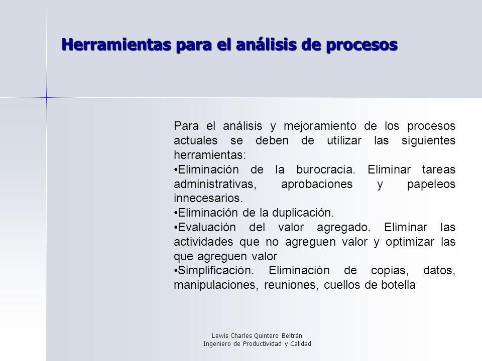 Lewis Charles Quintero Beltrán Ingeniero de Productividad y Calidad Herramientas para el análisis de procesos Para el análisis y mejoramiento de los procesos actuales se deben de utilizar las siguientes herramientas: Eliminación de la burocracia.