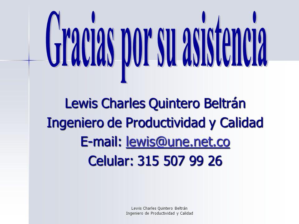 Lewis Charles Quintero Beltrán Ingeniero de Productividad y Calidad Lewis Charles Quintero Beltrán Ingeniero de Productividad y Calidad E-mail: lewis@une.net.co lewis@une.net.co Celular: 315 507 99 26