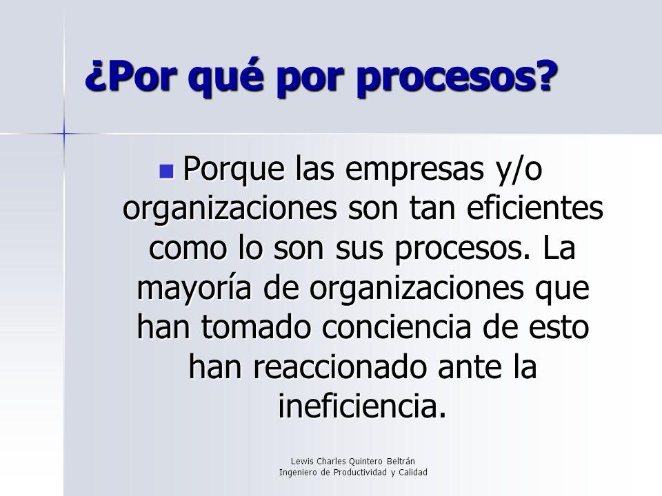 Lewis Charles Quintero Beltrán Ingeniero de Productividad y Calidad ¿Por qué por procesos.
