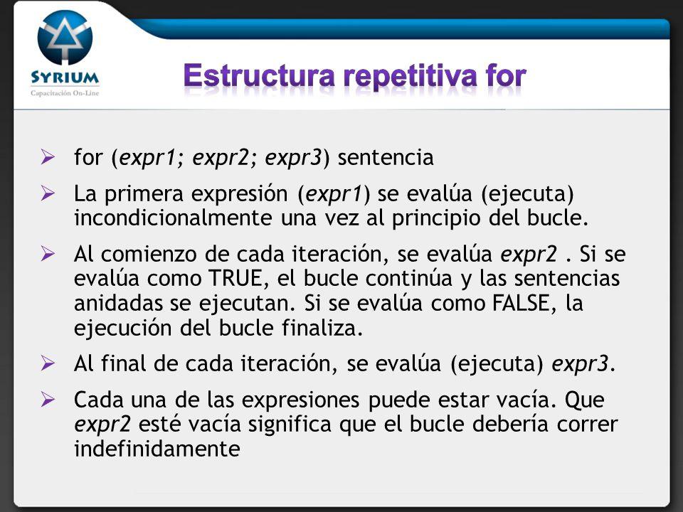 for (expr1; expr2; expr3) sentencia La primera expresión (expr1) se evalúa (ejecuta) incondicionalmente una vez al principio del bucle. Al comienzo de