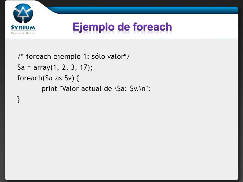 /* foreach ejemplo 1: sólo valor*/ $a = array(1, 2, 3, 17); foreach($a as $v) { print
