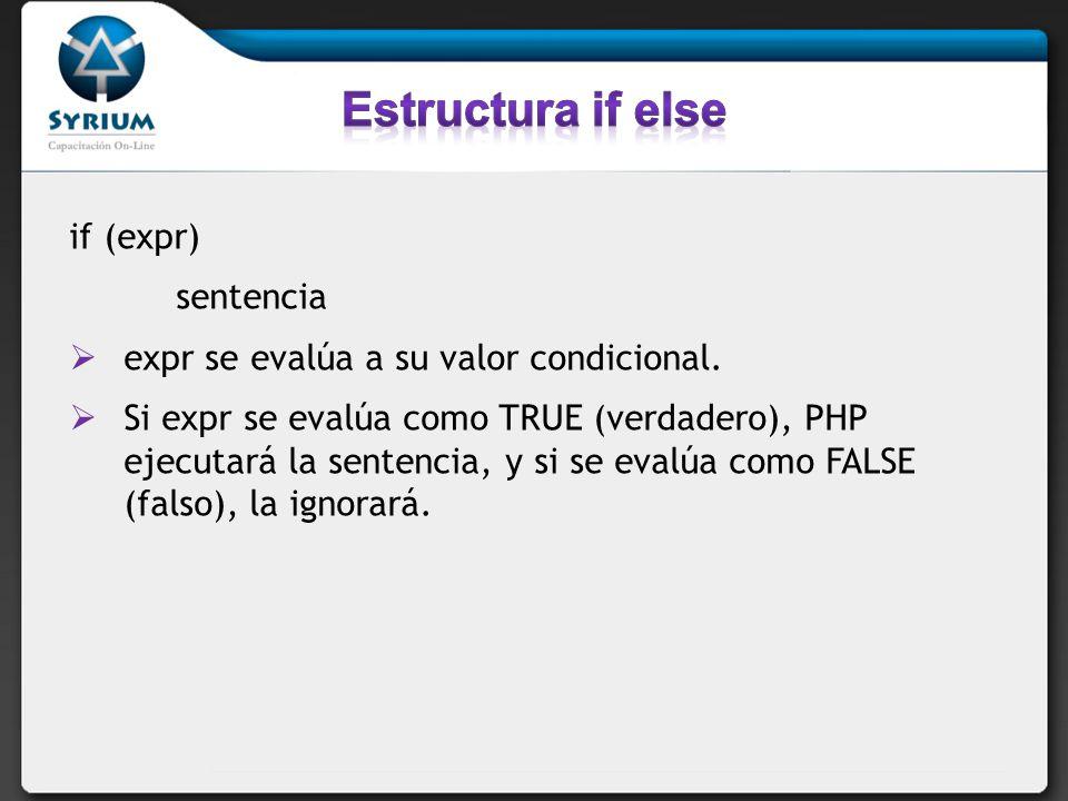 if (expr) sentencia expr se evalúa a su valor condicional. Si expr se evalúa como TRUE (verdadero), PHP ejecutará la sentencia, y si se evalúa como FA