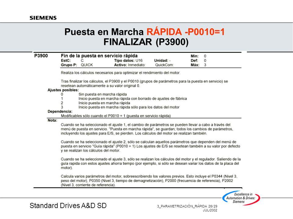 Standard Drives A&D SD 3_PARAMETRIZACIÓN_RÁPIDA 25/ 29 JUL/2002 Puesta en Marcha RÁPIDA -P0010=1 MODO DE CONTROL (P1300)