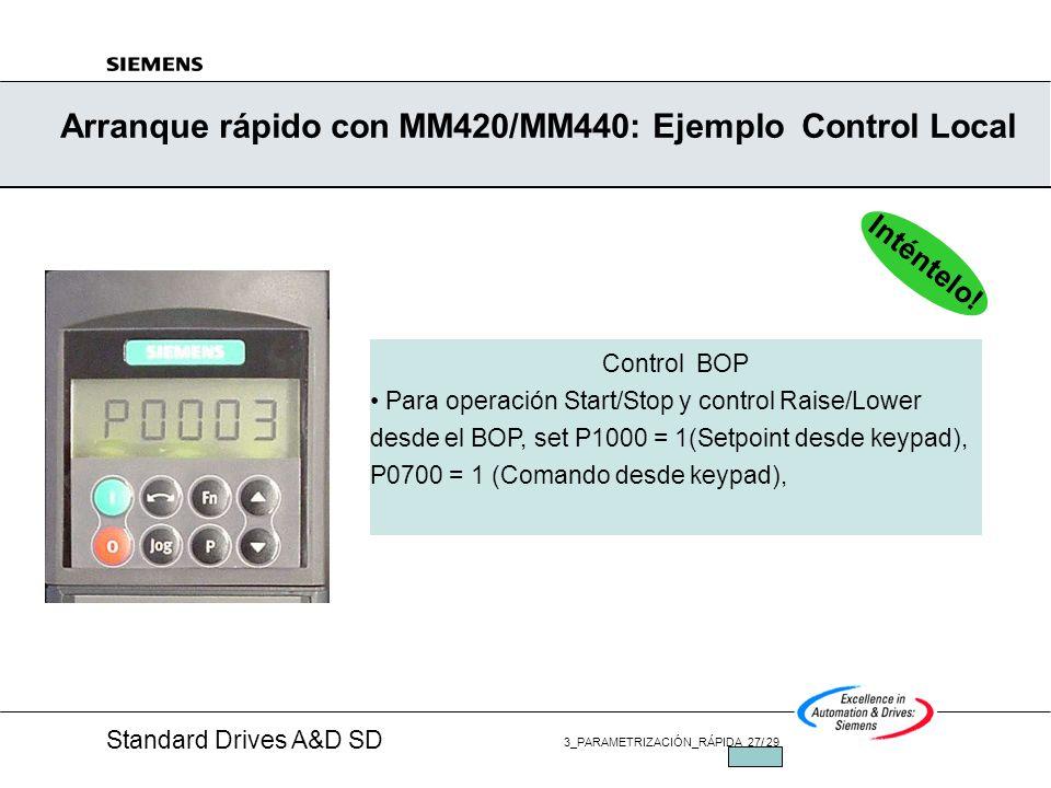 Standard Drives A&D SD 3_PARAMETRIZACIÓN_RÁPIDA 26/ 29 JUL/2002 Puesta en Marcha RÁPIDA -P0010=1 FINALIZAR (P3900)