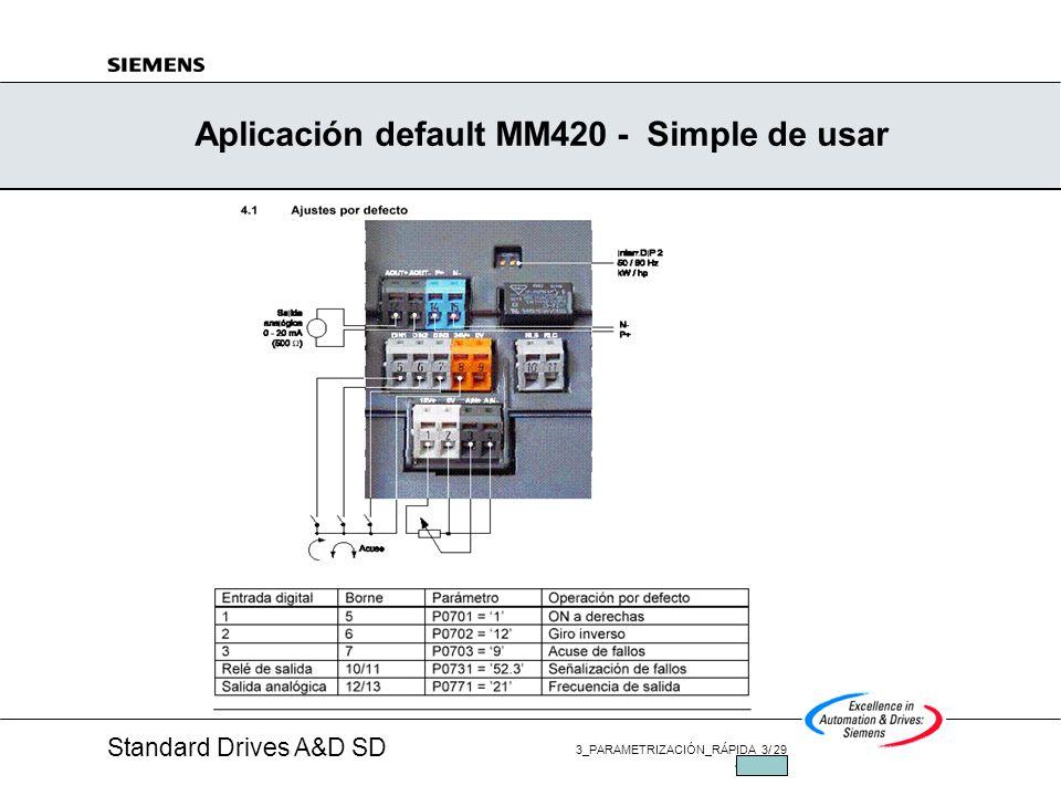 Standard Drives A&D SD 3_PARAMETRIZACIÓN_RÁPIDA 13/ 29 JUL/2002 Regresar todo los Parámetros P0010 = 30P0970 = 1 (10 s) Dos formas de regresar a los parámetros de fábrica Mantener los Parámetros de la Parametrización rápida y regresar todo los otros parámetros: P3900 = 1