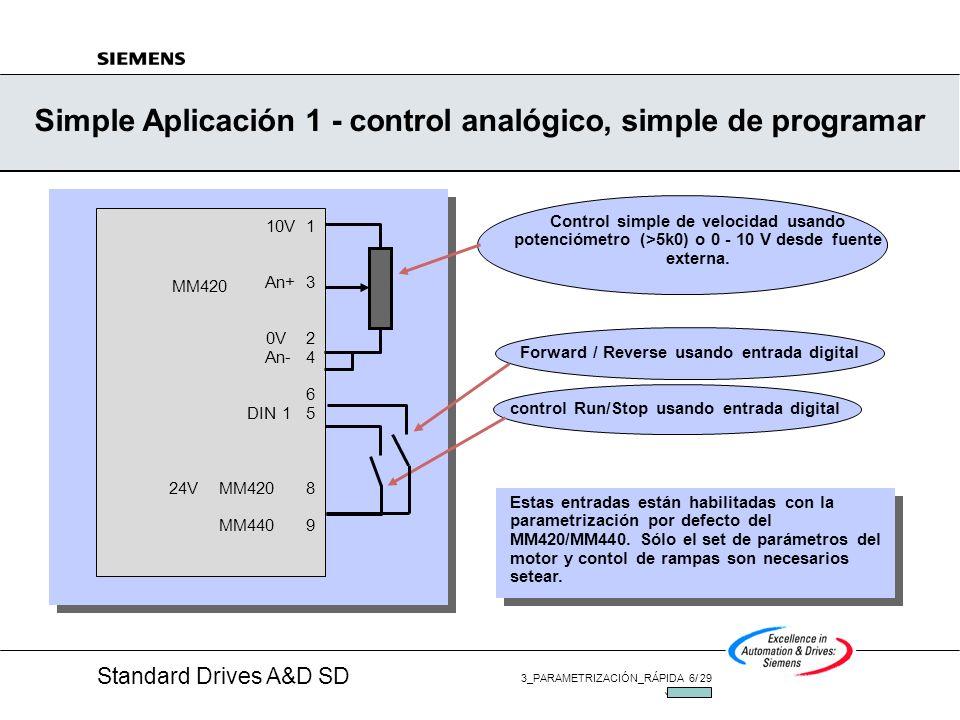 Standard Drives A&D SD 3_PARAMETRIZACIÓN_RÁPIDA 6/ 29 JUL/2002 Simple Aplicación 1 - control analógico, simple de programar MM420 10V 1 An+ 3 0V 2 An- 4 6 DIN 1 5 24V MM420 8 MM440 9 Control simple de velocidad usando potenciómetro (>5k0) o 0 - 10 V desde fuente externa.
