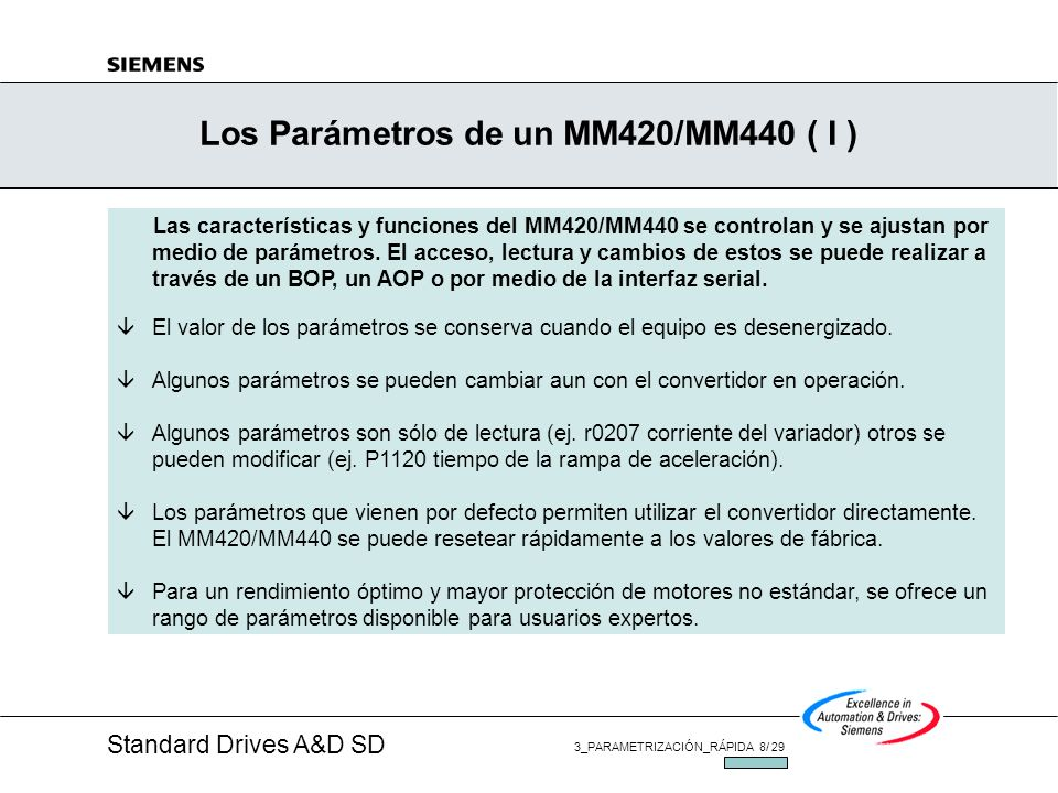 Standard Drives A&D SD 3_PARAMETRIZACIÓN_RÁPIDA 8/ 29 JUL/2002 Los Parámetros de un MM420/MM440 ( I ) Las características y funciones del MM420/MM440 se controlan y se ajustan por medio de parámetros.