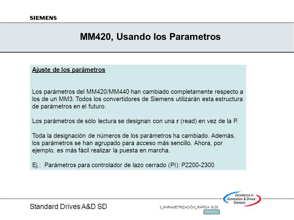 Standard Drives A&D SD 3_PARAMETRIZACIÓN_RÁPIDA 9/ 29 JUL/2002 MM420, Usando los Parametros Ajuste de los parámetros Los parámetros del MM420/MM440 han cambiado completamente respecto a los de un MM3.