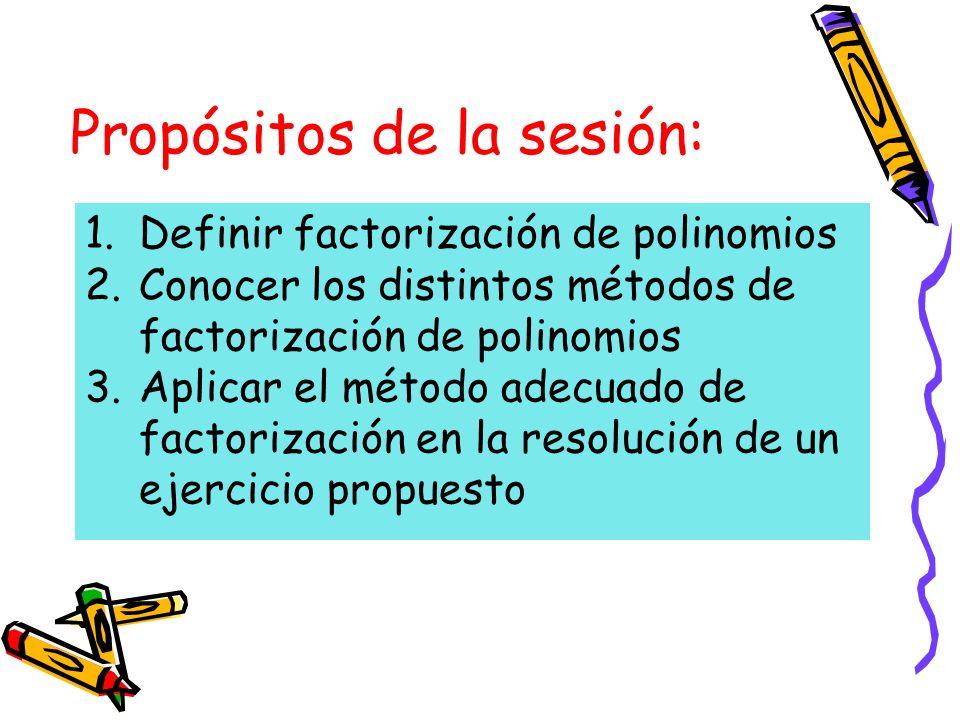 Propósitos de la sesión: 1.Definir factorización de polinomios 2.Conocer los distintos métodos de factorización de polinomios 3.Aplicar el método adecuado de factorización en la resolución de un ejercicio propuesto