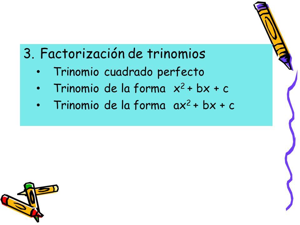 3.Factorización de trinomios Trinomio cuadrado perfecto Trinomio de la forma x 2 + bx + c Trinomio de la forma ax 2 + bx + c