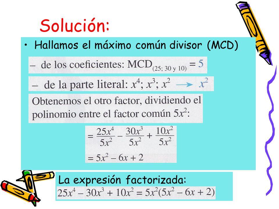 Ejemplo: Factoriza 343a 3 - 64b 3 Solución Primer factor: La dife- rencia de las raíces cúbicas de ambos términos Segundo factor: El cua- drado de la primera raíz mas el producto de las dos raíces más el cuadrado de la segunda raíz La expresión factorizada
