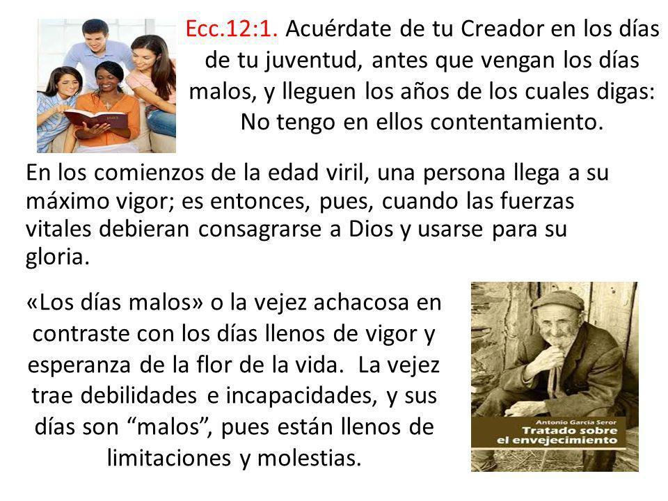 En los comienzos de la edad viril, una persona llega a su máximo vigor; es entonces, pues, cuando las fuerzas vitales debieran consagrarse a Dios y us