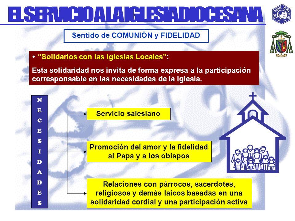 Solidarios con las Iglesias Locales: Esta solidaridad nos invita de forma expresa a la participación corresponsable en las necesidades de la Iglesia.