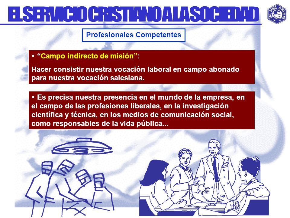 Campo indirecto de misión: Hacer consistir nuestra vocación laboral en campo abonado para nuestra vocación salesiana. Profesionales Competentes Es pre