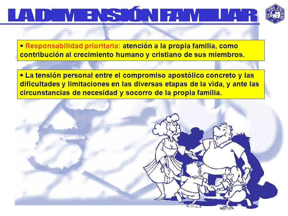 Responsabilidad prioritaria: atención a la propia familia, como contribución al crecimiento humano y cristiano de sus miembros. La tensión personal en