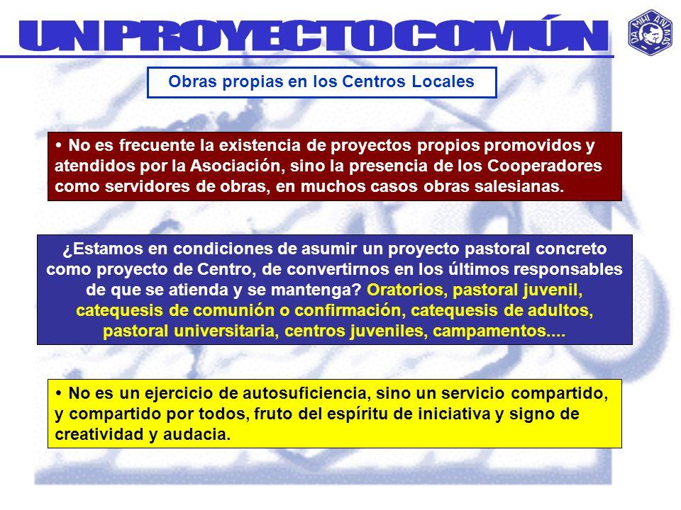 No es frecuente la existencia de proyectos propios promovidos y atendidos por la Asociación, sino la presencia de los Cooperadores como servidores de