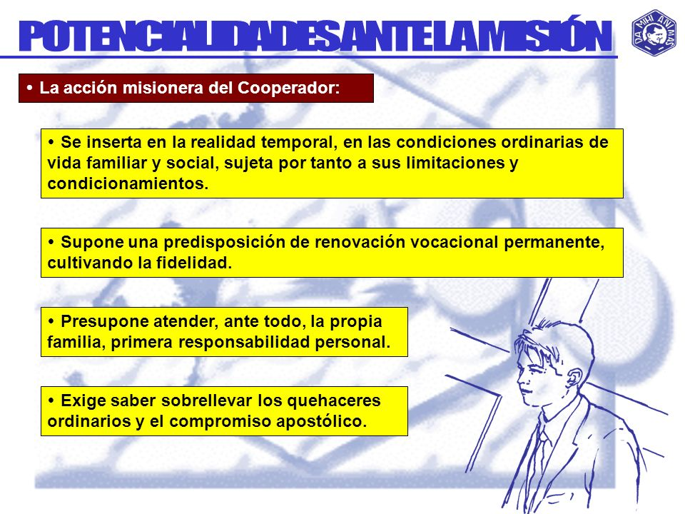 La acción misionera del Cooperador: Supone una predisposición de renovación vocacional permanente, cultivando la fidelidad. Se inserta en la realidad