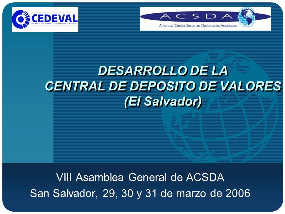 VIII Asamblea General de ACSDA, San Salvador,29, 30 y 31de marzo de 2006 Desmaterialización Conclusión del proceso de transformación de títulosvalores a Anotaciones Electrónicas en Cuenta Creación del Registro Electrónico de Emisiones y el Registro Electrónico de Cuentas de Valores.
