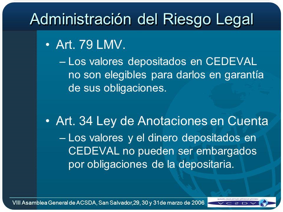 VIII Asamblea General de ACSDA, San Salvador,29, 30 y 31de marzo de 2006 Administración del Riesgo Legal Art. 79 LMV. –Los valores depositados en CEDE