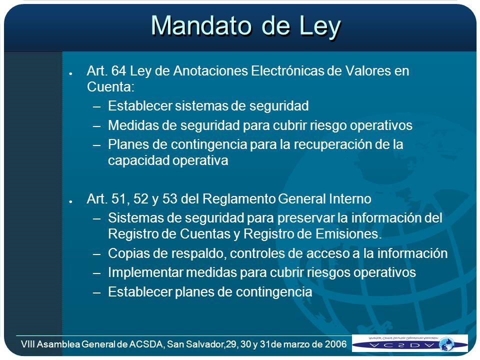 VIII Asamblea General de ACSDA, San Salvador,29, 30 y 31de marzo de 2006 Mandato de Ley l Art. 64 Ley de Anotaciones Electrónicas de Valores en Cuenta
