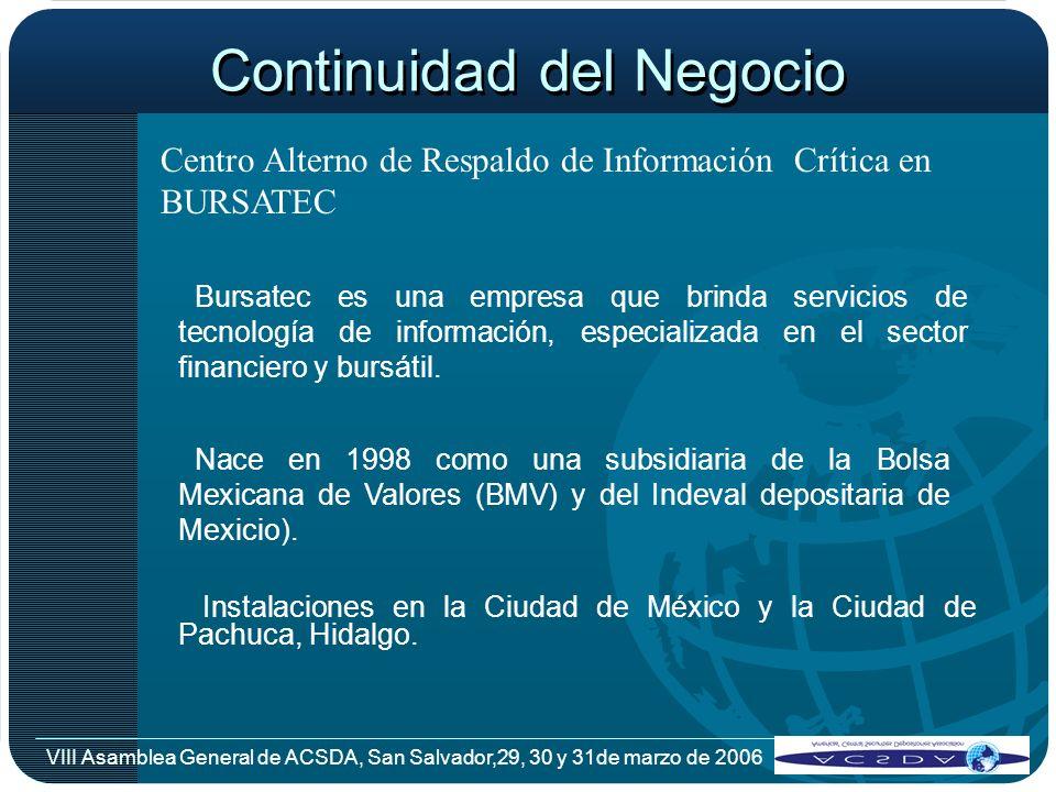 VIII Asamblea General de ACSDA, San Salvador,29, 30 y 31de marzo de 2006 Continuidad del Negocio Centro Alterno de Respaldo de Información Crítica en