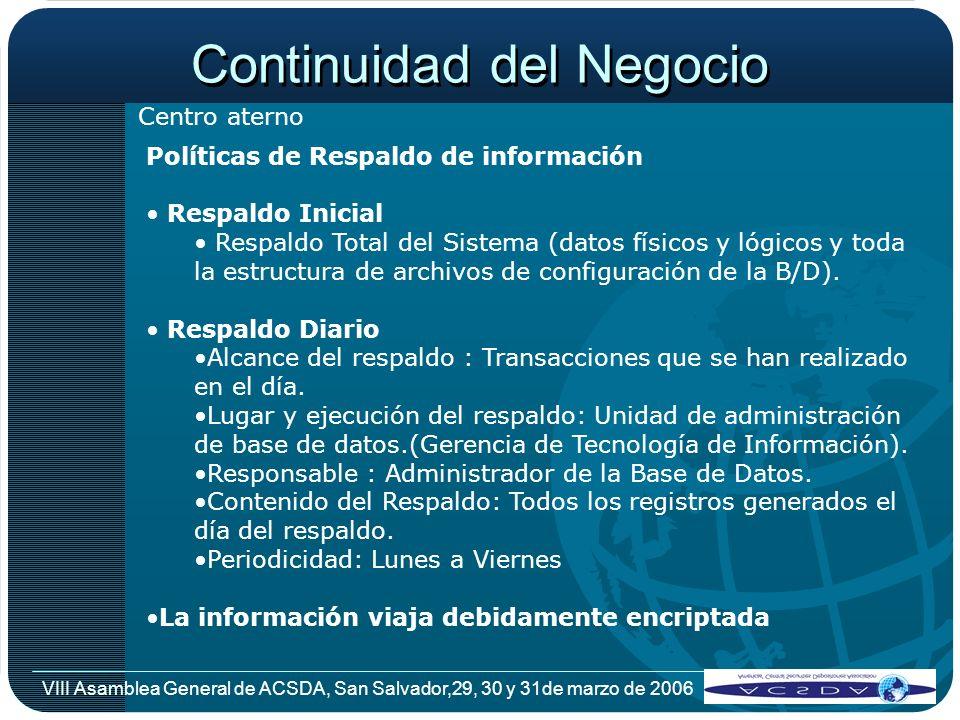 VIII Asamblea General de ACSDA, San Salvador,29, 30 y 31de marzo de 2006 Políticas de Respaldo de información Respaldo Inicial Respaldo Total del Sist