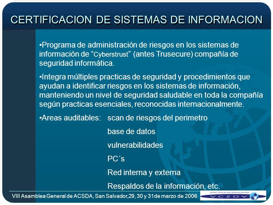 VIII Asamblea General de ACSDA, San Salvador,29, 30 y 31de marzo de 2006 CERTIFICACION DE SISTEMAS DE INFORMACION Programa de administración de riesgo