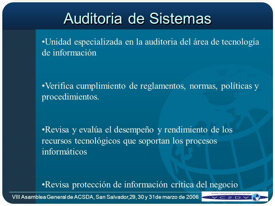 VIII Asamblea General de ACSDA, San Salvador,29, 30 y 31de marzo de 2006 Auditoria de Sistemas Unidad especializada en la auditoria del área de tecnol
