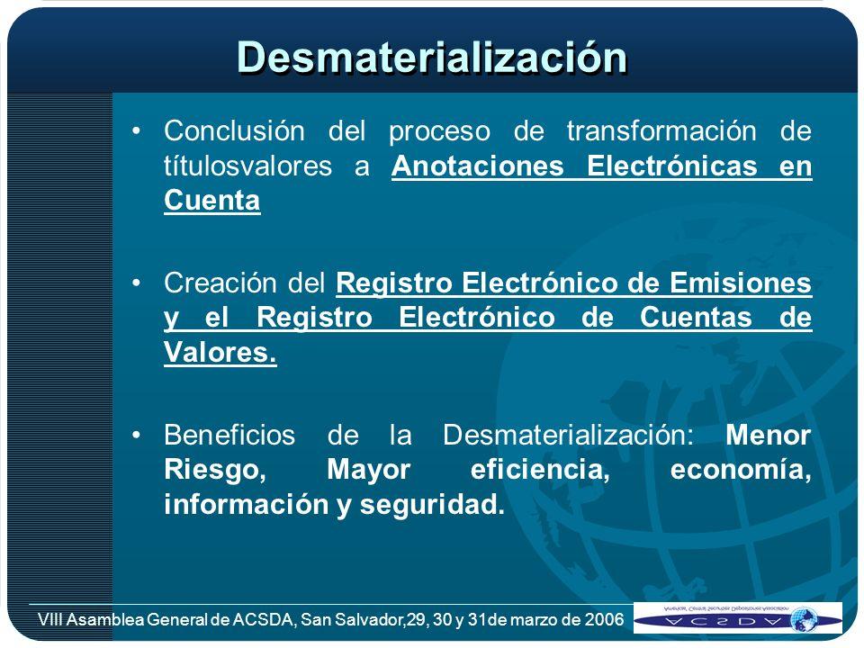 VIII Asamblea General de ACSDA, San Salvador,29, 30 y 31de marzo de 2006 Desmaterialización Conclusión del proceso de transformación de títulosvalores
