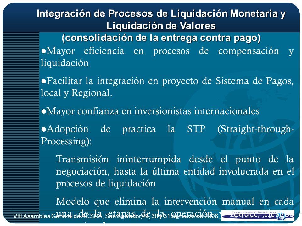 VIII Asamblea General de ACSDA, San Salvador,29, 30 y 31de marzo de 2006 Integración de Procesos de Liquidación Monetaria y Liquidación de Valores (co