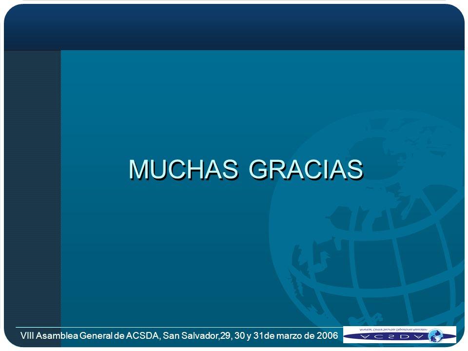 VIII Asamblea General de ACSDA, San Salvador,29, 30 y 31de marzo de 2006 MUCHAS GRACIAS