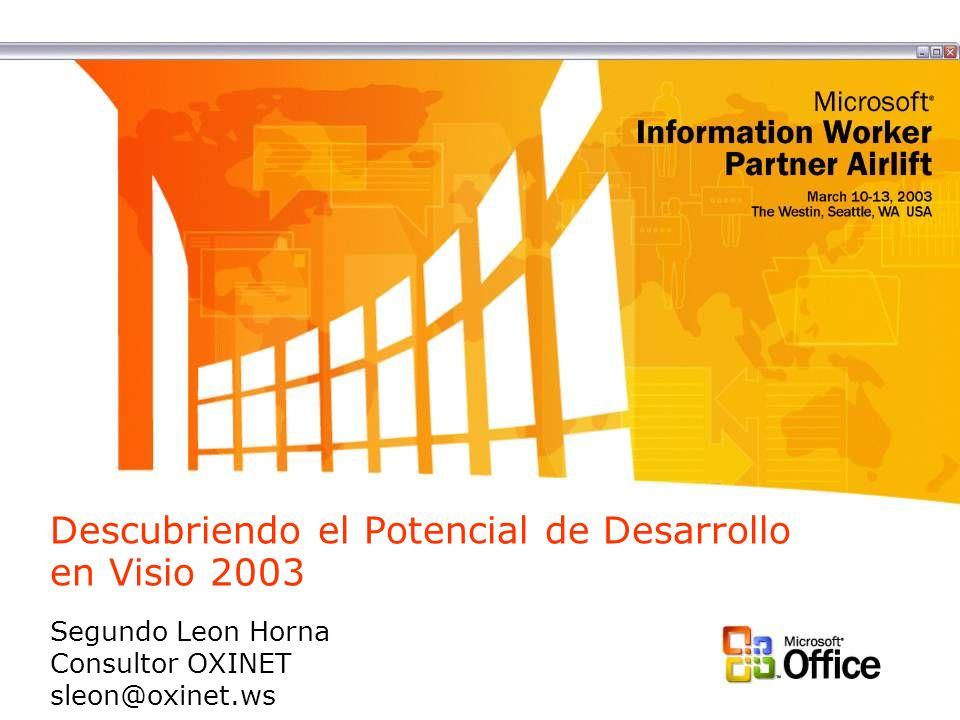 Descubriendo el Potencial de Desarrollo en Visio 2003 Segundo Leon Horna Consultor OXINET sleon@oxinet.ws