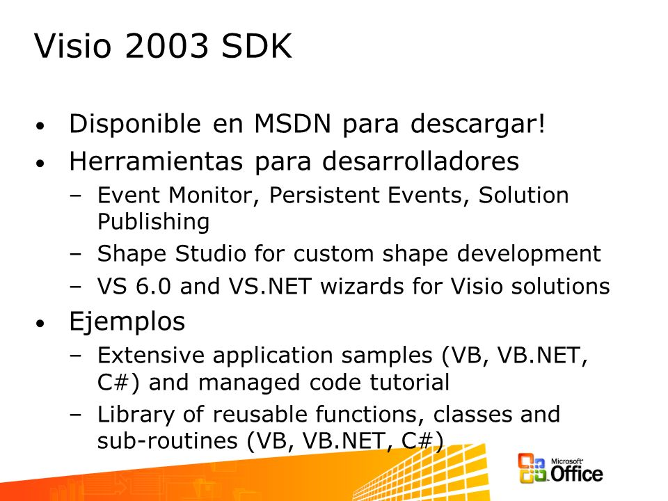 Visio 2003 SDK Disponible en MSDN para descargar.