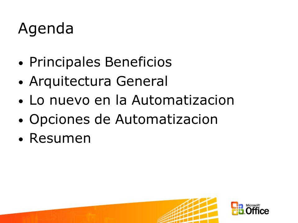 Agenda Principales Beneficios Arquitectura General Lo nuevo en la Automatizacion Opciones de Automatizacion Resumen