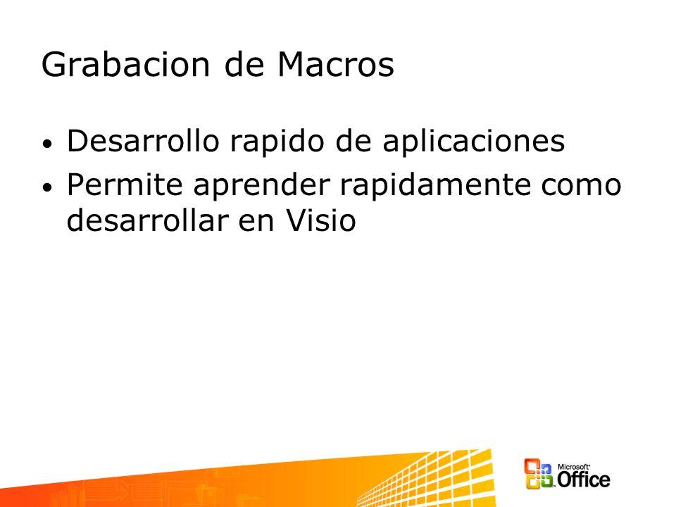 Grabacion de Macros Desarrollo rapido de aplicaciones Permite aprender rapidamente como desarrollar en Visio