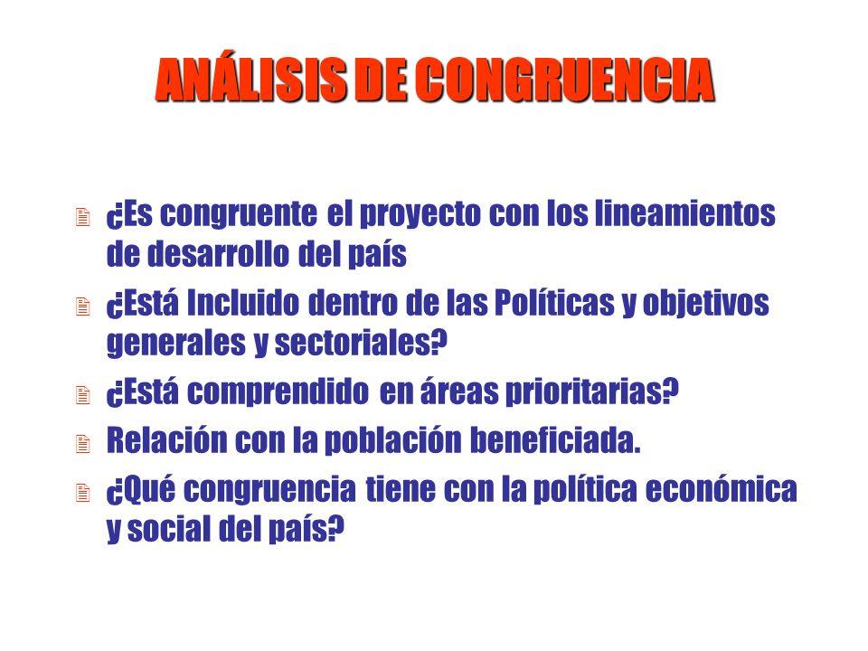 ANÁLISIS DE CONGRUENCIA 2 ¿Es congruente el proyecto con los lineamientos de desarrollo del país 2 ¿Está Incluido dentro de las Políticas y objetivos