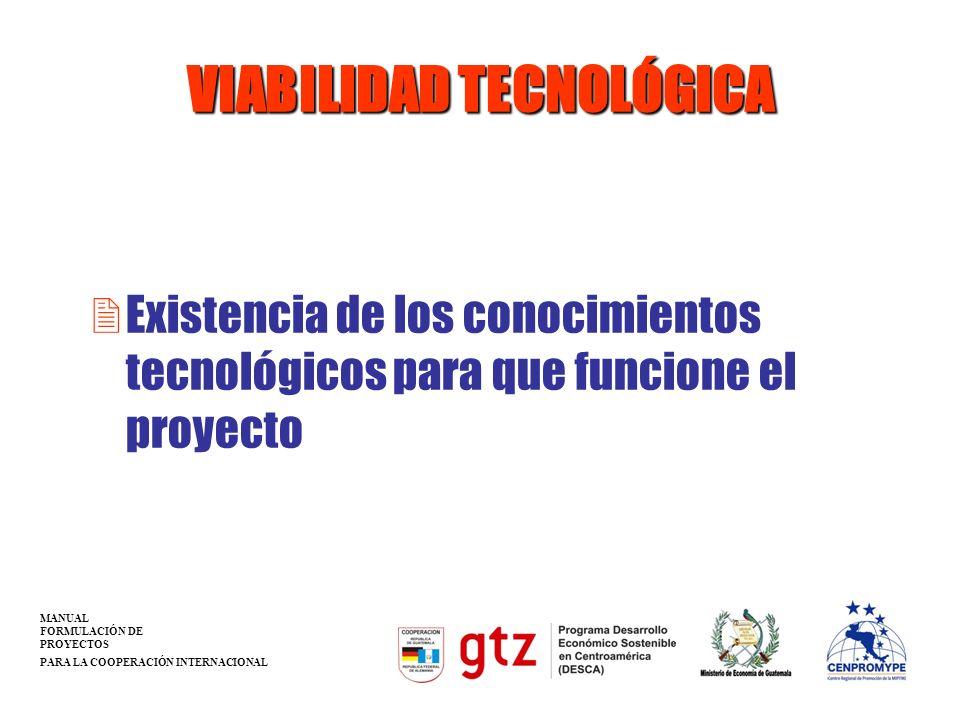 VIABILIDAD TECNOLÓGICA 2Existencia de los conocimientos tecnológicos para que funcione el proyecto MANUAL FORMULACIÓN DE PROYECTOS PARA LA COOPERACIÓN