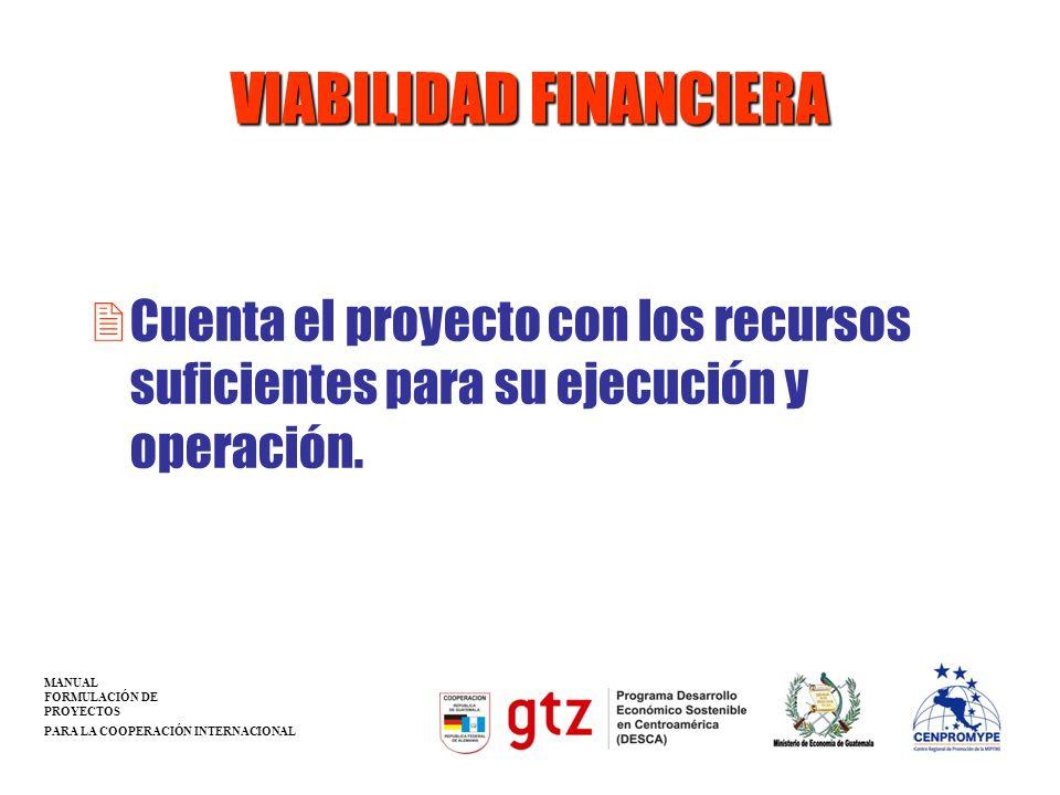 VIABILIDAD FINANCIERA 2Cuenta el proyecto con los recursos suficientes para su ejecución y operación. MANUAL FORMULACIÓN DE PROYECTOS PARA LA COOPERAC