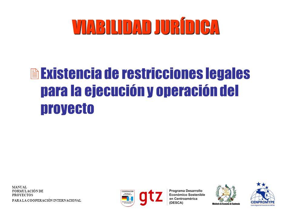 VIABILIDAD JURÍDICA 2Existencia de restricciones legales para la ejecución y operación del proyecto MANUAL FORMULACIÓN DE PROYECTOS PARA LA COOPERACIÓ