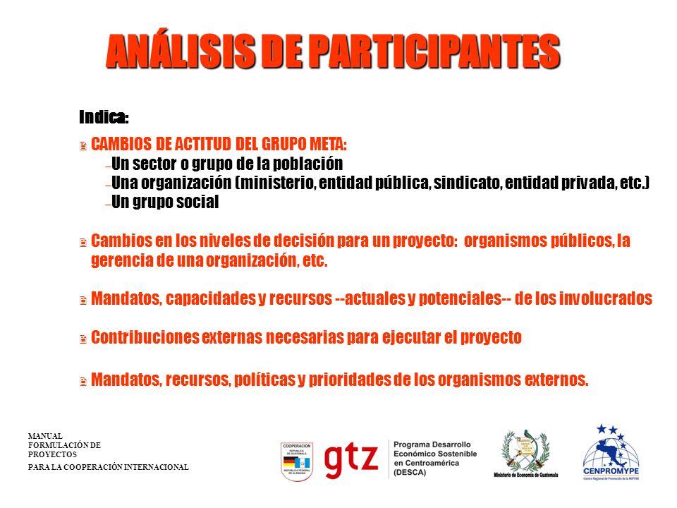 ANÁLISIS DE PARTICIPANTES 2 CAMBIOS DE ACTITUD DEL GRUPO META: Un sector o grupo de la población Una organización (ministerio, entidad pública, sindic