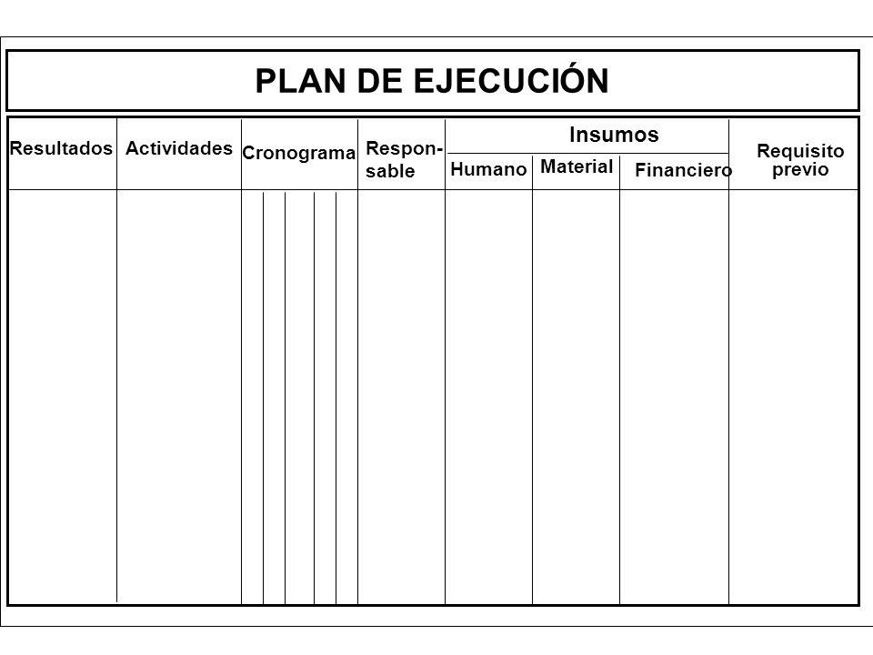 PLAN DE EJECUCIÓN ResultadosActividades Cronograma Respon- sable Insumos Humano Material Financiero Requisito previo