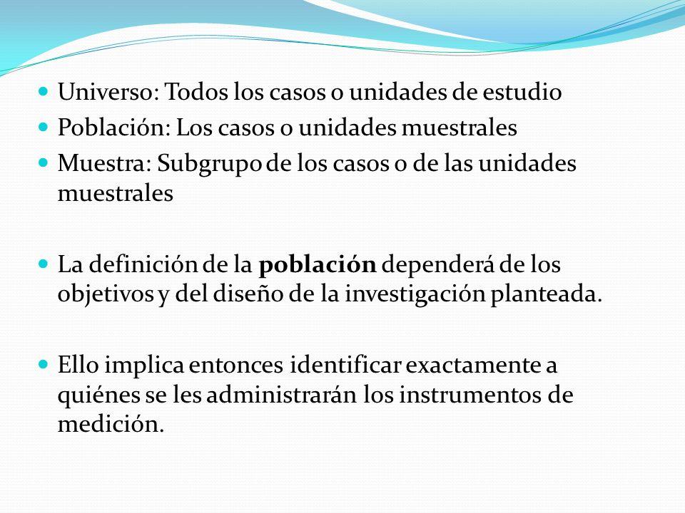 Universo: Todos los casos o unidades de estudio Población: Los casos o unidades muestrales Muestra: Subgrupo de los casos o de las unidades muestrales