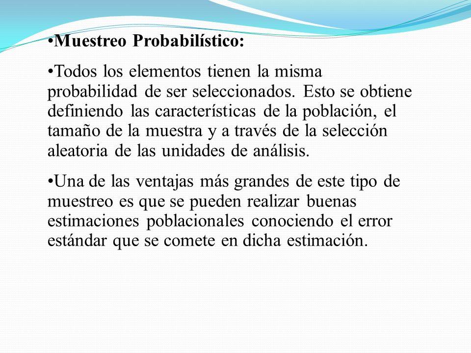 Muestreo Probabilístico: Todos los elementos tienen la misma probabilidad de ser seleccionados. Esto se obtiene definiendo las características de la p