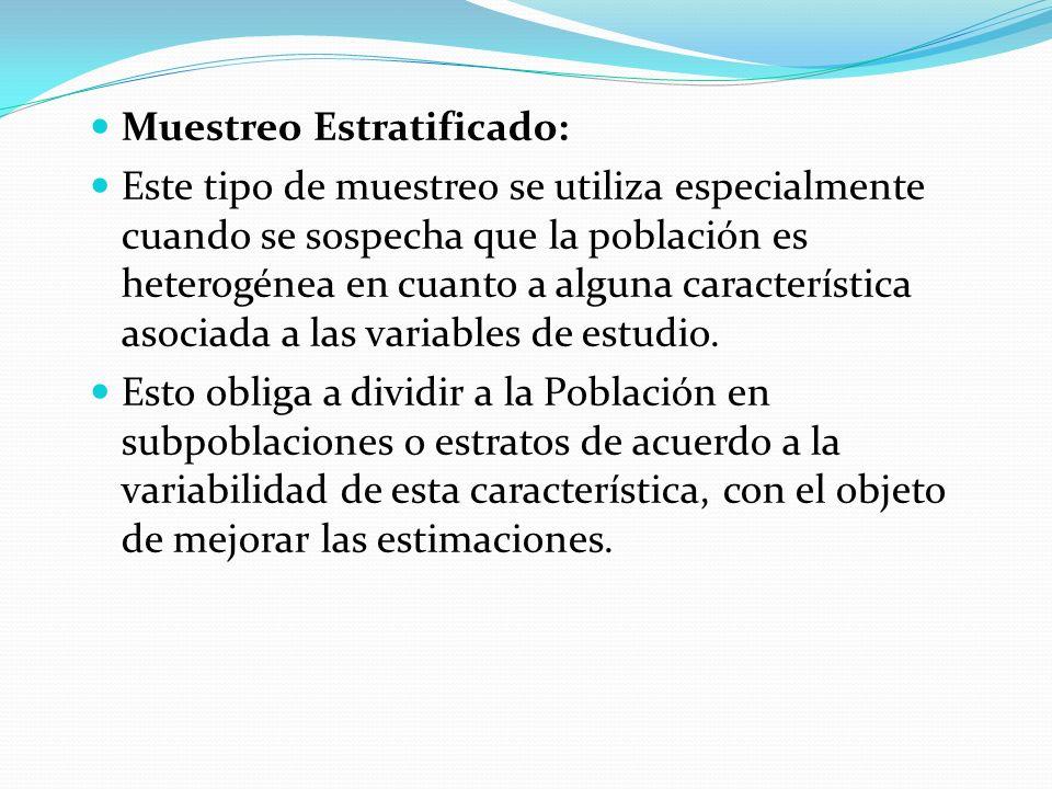 Muestreo Estratificado: Este tipo de muestreo se utiliza especialmente cuando se sospecha que la población es heterogénea en cuanto a alguna caracterí