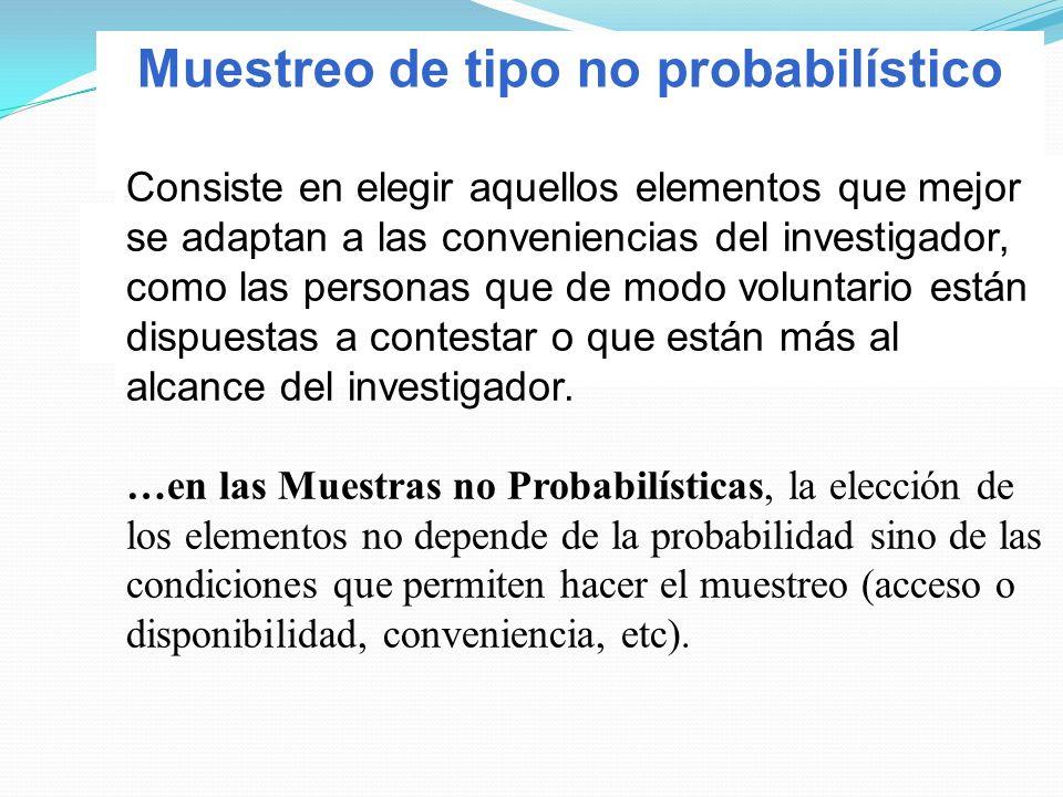 Muestreo de tipo no probabilístico Consiste en elegir aquellos elementos que mejor se adaptan a las conveniencias del investigador, como las personas