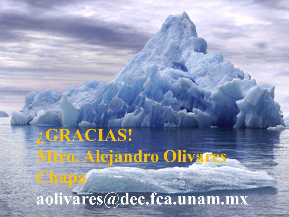 ¿GRACIAS! Mtro. Alejandro Olivares Chapa aolivares@dec.fca.unam.mx